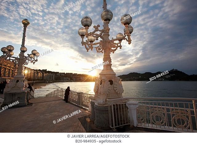 Lamp post, La Concha beach, San Sebastian, Guipuzcoa, Basque Country, Spain