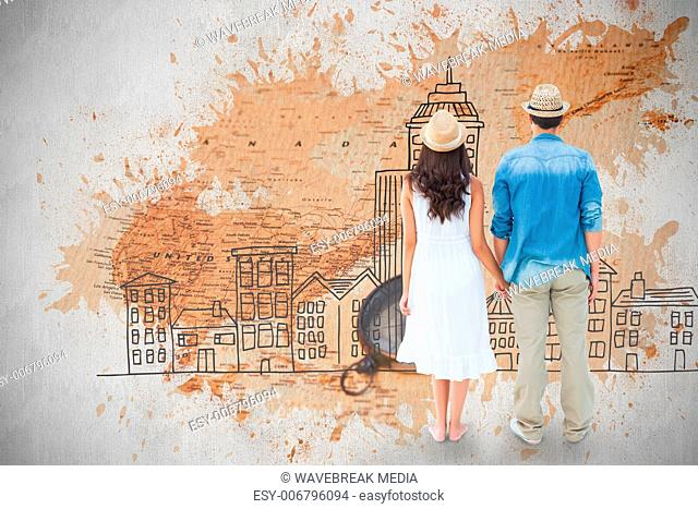 Composite image of happy hipster couple holding hands