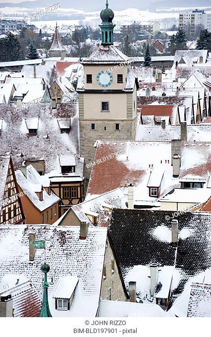Quaint, snow covered village