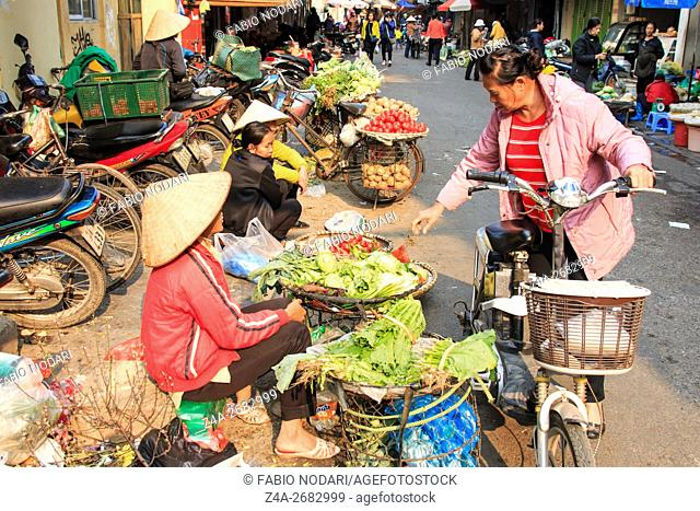 Woman selling fruits and vegetables in a street market of Hoàn Kiáºm, the old quarter of Hanoi