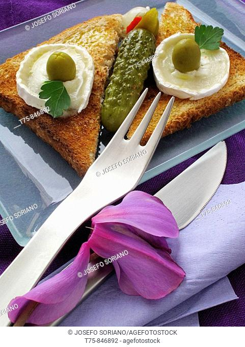 Toast with goat cheese and salted