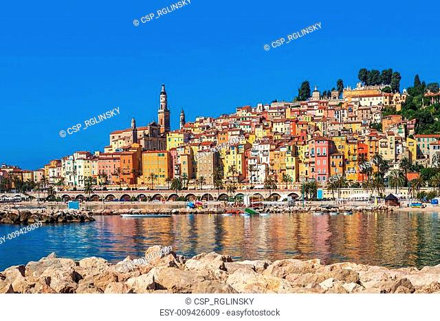 Multicolored houses of Menton, France