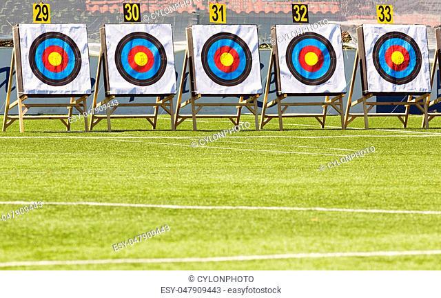Five target rings for bow shootings
