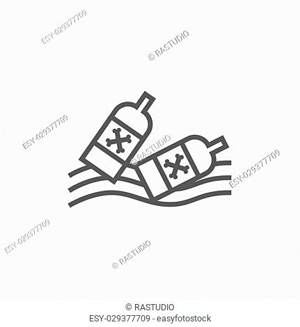 Bottles floating in the water thick line icon with pointed corners and edges for web, mobile and infographics. Vector isolated icon