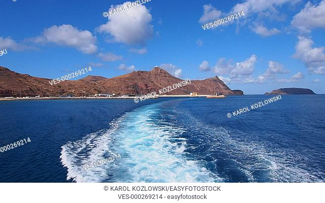 Ferry leaving Porto de Abrigo on Porto Santo Island, Madeira Islands, Portugal