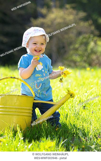 Smiling baby girl on meadow picking dandelions