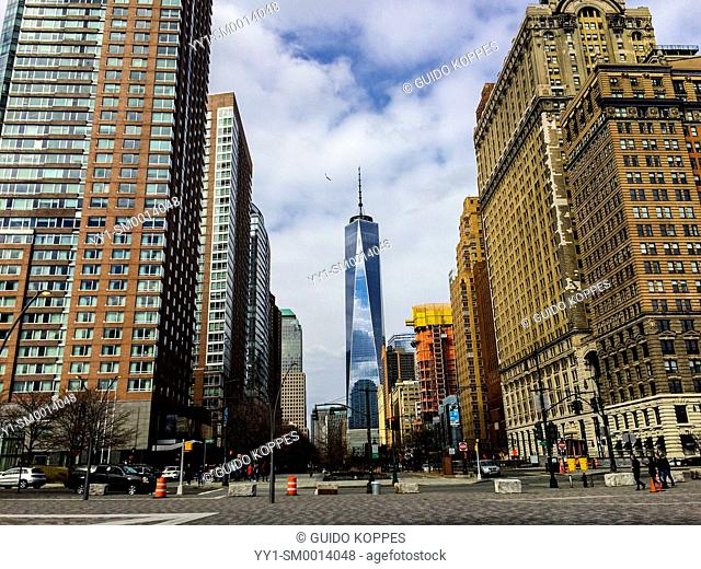 New York, USA. View on the Freedom Tower from Battery Park, Manhattan