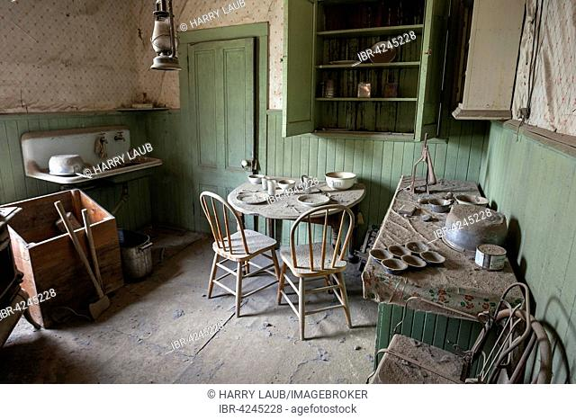 A kitchen in an old house located in a ghost town, old gold mining town, Bodie State Historic Park, Bodie, California, USA