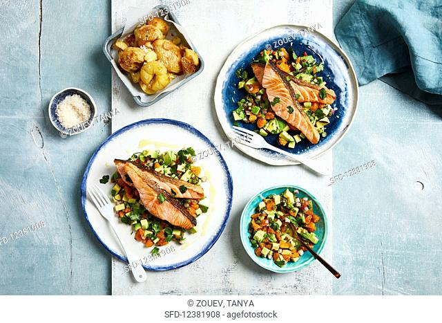 Salmon fillets with a mandarin and avocado salsa