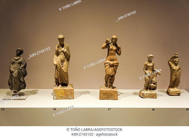 Terracota Figurines. Aphrodita in the center. Ephes Museum. Classic Greek Collection. Asia Minor. Turkey