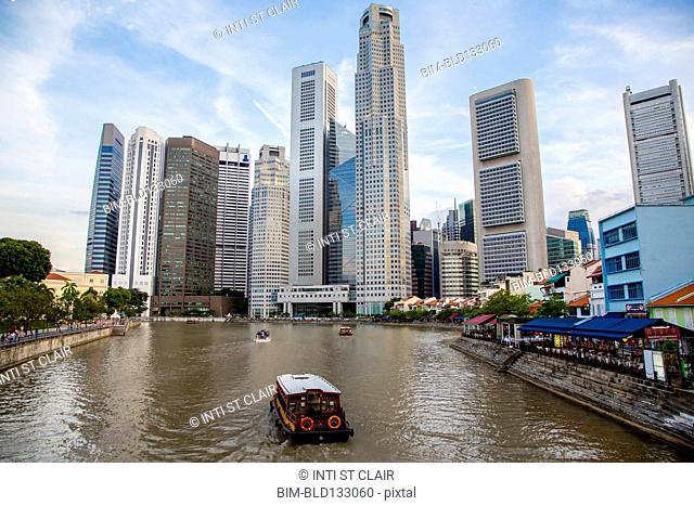 Singapore city skyline overlooking water, Singapore, Republic of Singapore