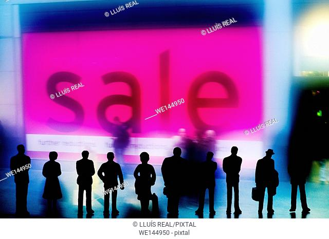 Digital composition of several silhouettes of unrecognizable people, looking a sale advert