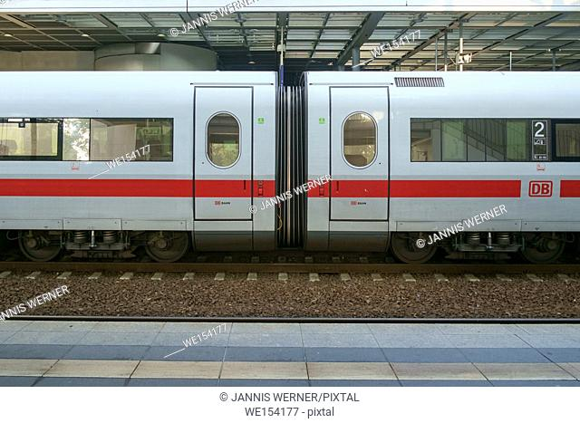BERLIN, GERMANY - SEPTEMBER 2016: Junction between to InterCity Express train cars at a station in Berlin, Germany in September 2016