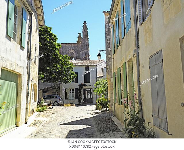 narrrow street and Eglise Saint-Martin, Saint-Martin-de-Re, Ile de Re, Charente-Maritime Department, Nouvelle Aquitaine, France