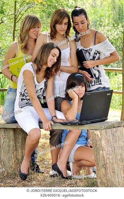 group of students working with a PC in the park