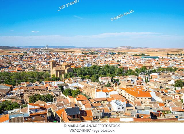 Overview from the windmills. Consuegra, Toledo province, Castilla La Mancha, Spain