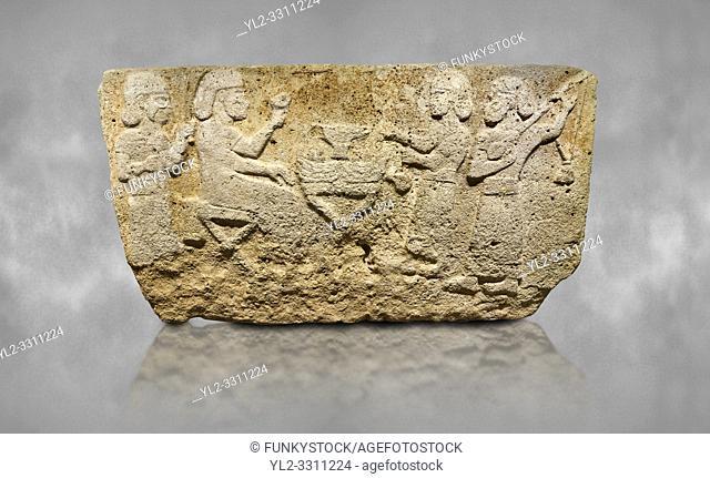 Hittite monumental relief sculpted orthostat stone panel from Water Gate Limestone, Karkamıs, (Kargamıs), Carchemish (Karkemish), 900-700 BC