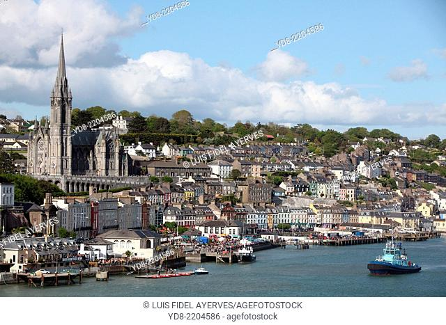 View of Cobh Cathedral in the coastal town south of County Cork, Ireland
