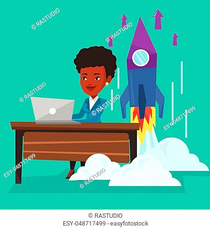 Rocket launch from laptop Stock Photos and Images | age fotostock