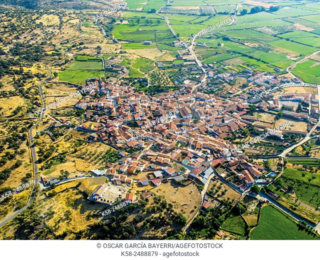 Aerial view of Casillas de Coria, province of Caceres, Extremadura, Spain
