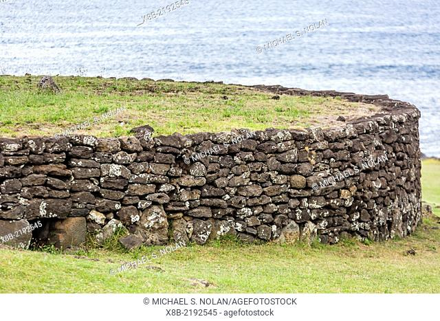House foundation in the Tahai Archaeological Zone on Easter Island (Isla de Pascua, Rapa Nui), Chile