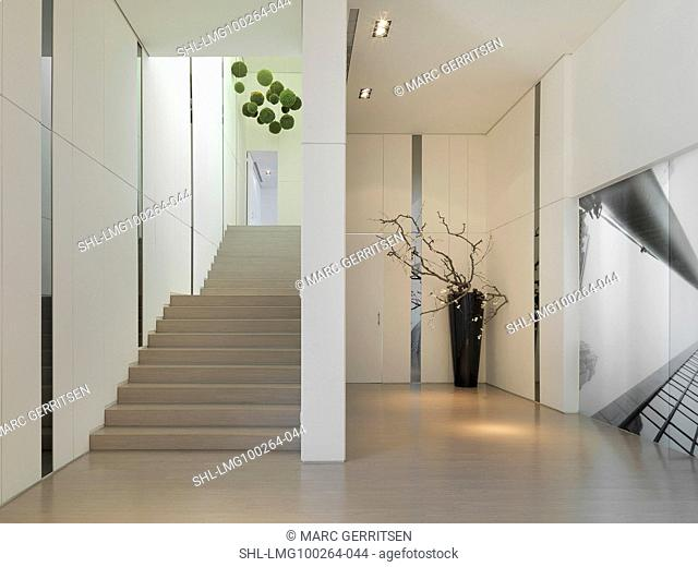 Large staircase in modern building