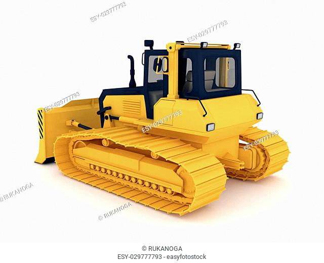 Yellow bulldozer. 3d illustration isolated on white background