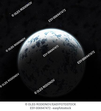 Realistic blue planet against the starry sky. Elements of this image furnished by NASA