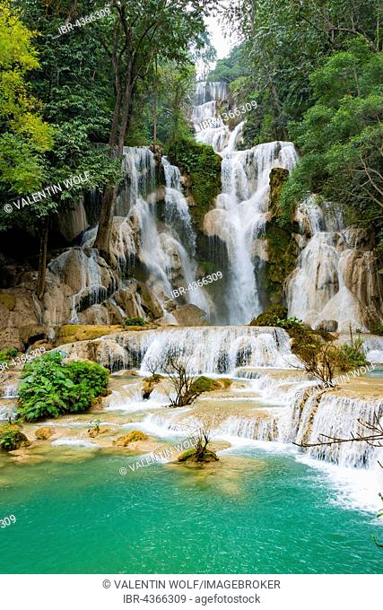 Big Waterfall with cascades, Tat Kuang Si Waterfalls, Luang Prabang, Luang Prabang Province, Laos