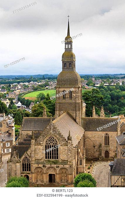 View on cathedral of Dinan, Brittany, France