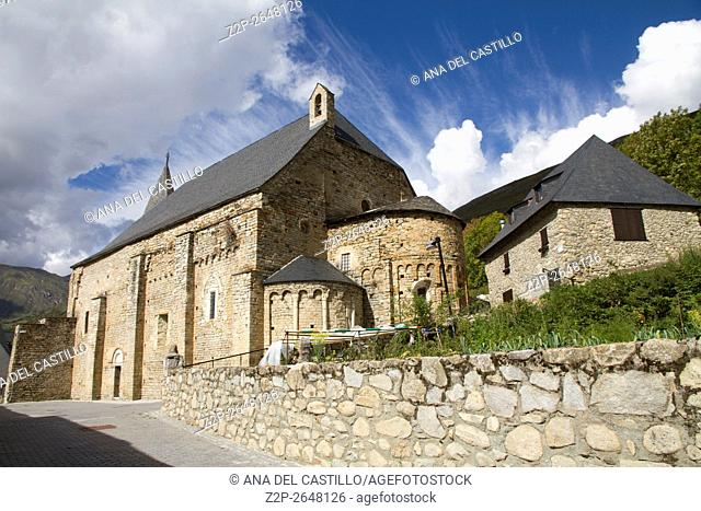 Tredos church and cemetery, Pyrenees mountains, Spain