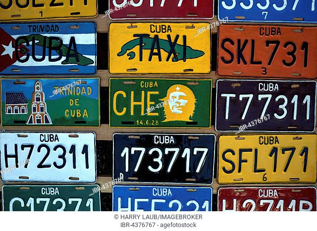 Colorful Cuban license plates, Cuba