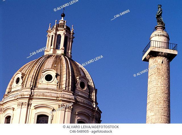 Church of the Santissimo Nome di Maria al Foro Traiano and Trajan's Colum, Rome, Italy