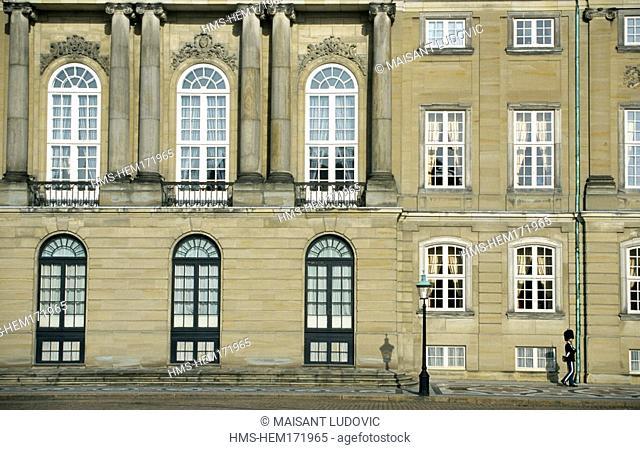 Denmark, Zealand, Copenhagen, Amalienborg Palace, Rococo style from 1750