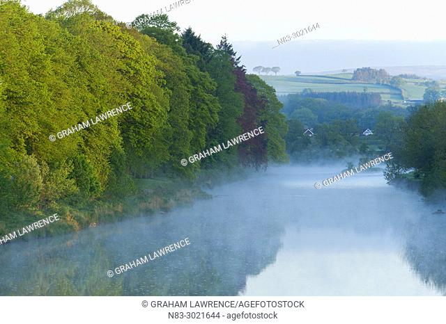 An early morning view over the river Wye at Builth Wells in Powys, UK