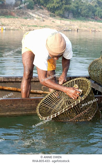 Fisherman in wooden boat, washing his coir and bamboo fishing pots, River Mahanadi, Orissa, India, Asia