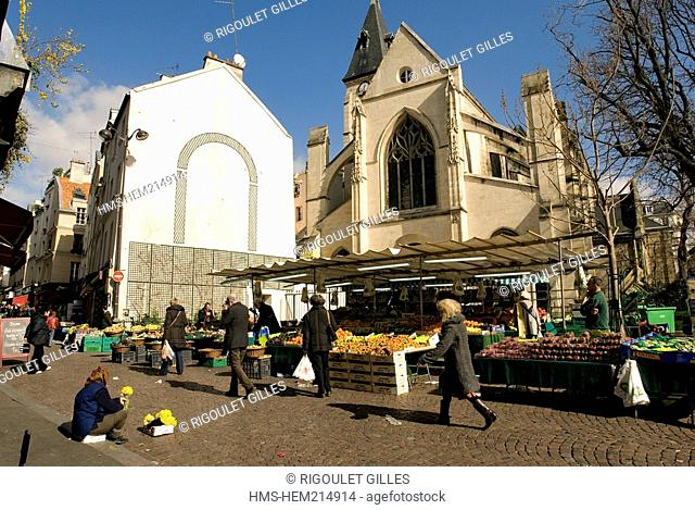 France, Paris, Rue Mouffetard 's market and Saint Medard church