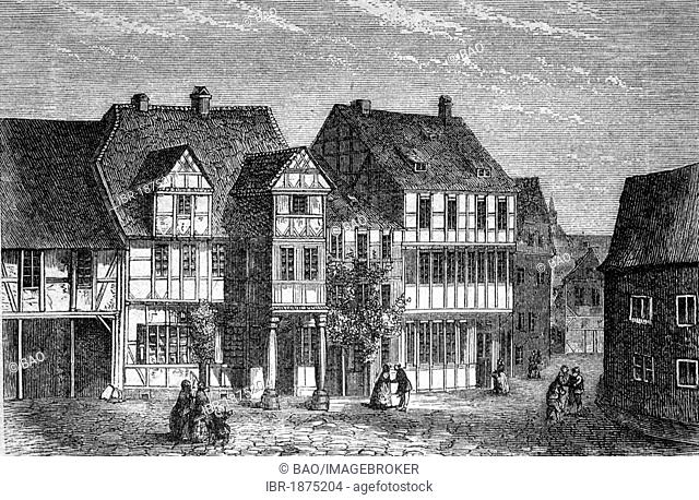 Birthplace of Friedrich Gottlieb Klopstock, Quedlinburg, Germany, historical illustration, circa 1886