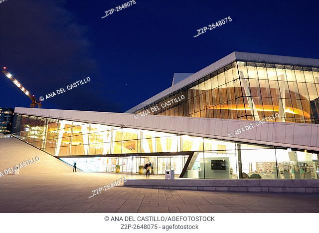 National Oslo Opera House shines at night on March 19, 2016. Oslo Opera House was opened on April 12, 2008 in Oslo, Norway