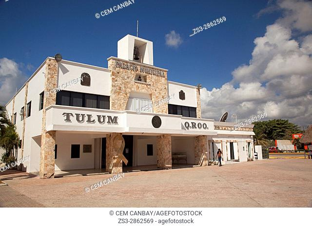 View to the Palacio Municipal-City Hall in the town center, Tulum, Quintana Roo, Mexico, Central America