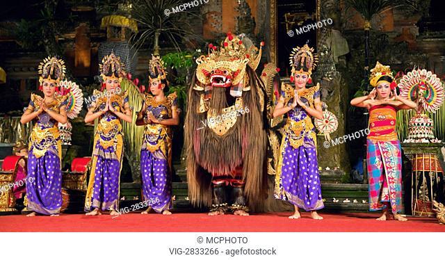 The BARONG DANCE is performed by the Cenik Wayah Gamelan Dance Group at PURA TAMAN SARASWATI - UBUD, BALI, INDONESIA - 09/12/2010