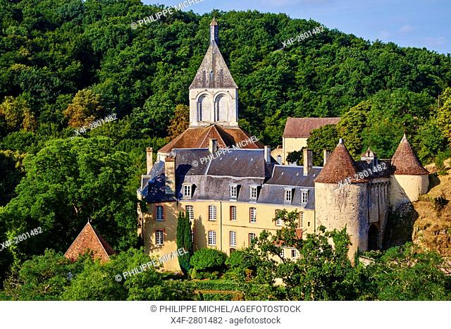 France, Indre (36), Creuse valley, Gargilesse-Dampierre, The most beautiful villages of France, the castle and the Roman church of the XII century