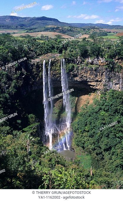 Waterfalls of Chamarel. Black river district, Mauritius Island, Indian Ocean