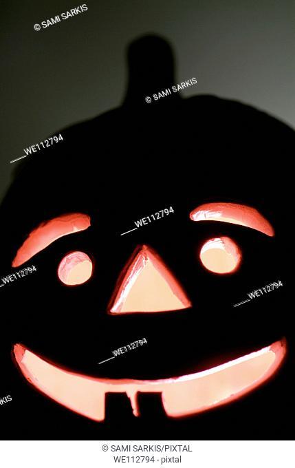 Halloween Jack o' Lantern glowing at night