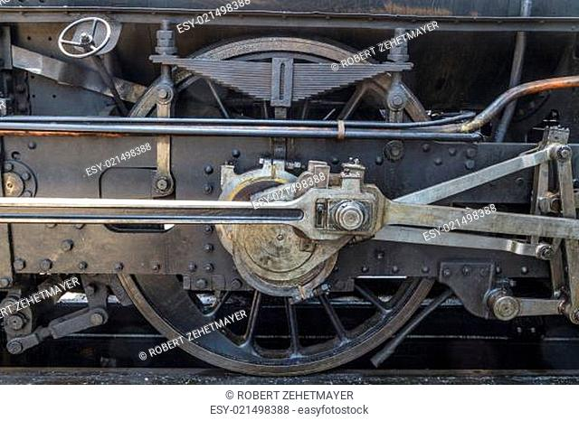 Details of old steam locomotive / engine in railway museum