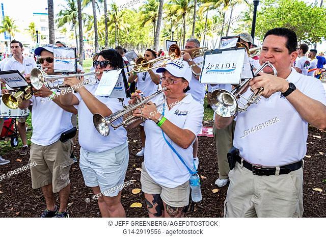 Florida, Miami Beach, Lummus Park, Gay Pride Week, LGBTQ, Pride Parade, participants, staging area, band, members, practicing