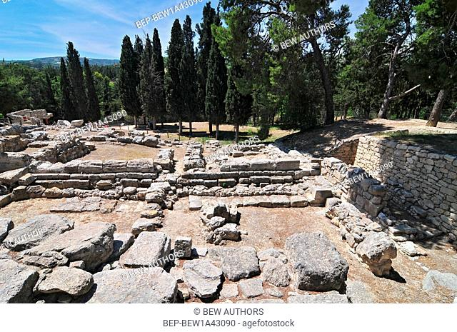 Minoan palace at Knossos on Greek Mediterranean island of Crete partially reconstructed by English archaeologist Arthur Evans