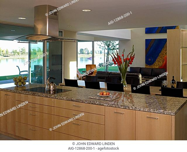 Open plan living room and kitchen in Border House, Arvin, Kern County, California