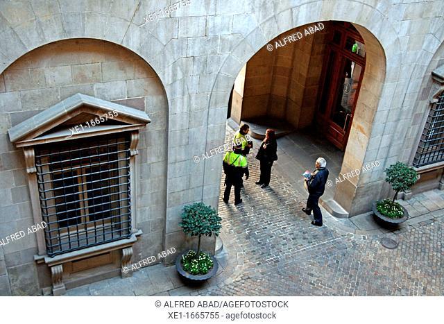 entry, Casa de la Ciutat, City Hall, Barcelona, Catalonia, Spain