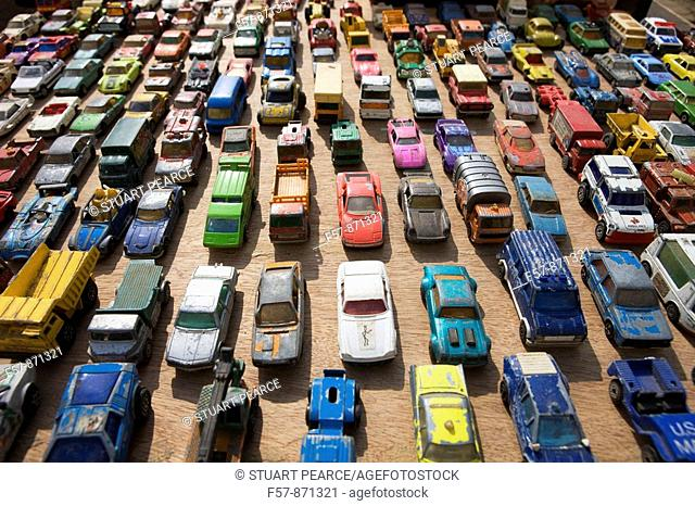 Toy cars in a traffic jam, France